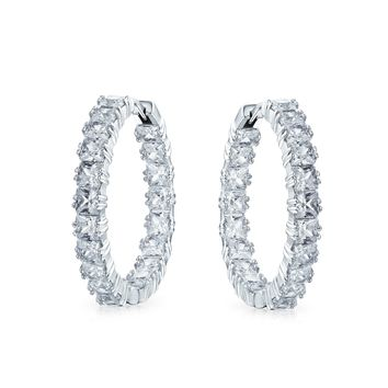Princess Cut CZ Prom Pageant Statement Hoop Earrings Silver Plated