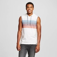 Men's Rainbow Stripe Sleeveless Hoodie - Ocean Current