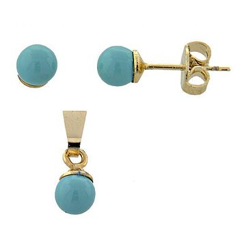 Gold Layered 10.63.0413 Earring and Pendant Adult Set, Ball Design, with  Pearl, Gold Tone