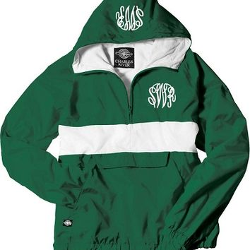 Monogrammed Forest and White Pullover Rain Jacket