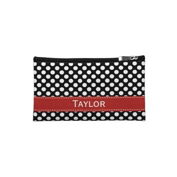 Black and White Polka Dot Cosmetic Bag from Zazzle.com