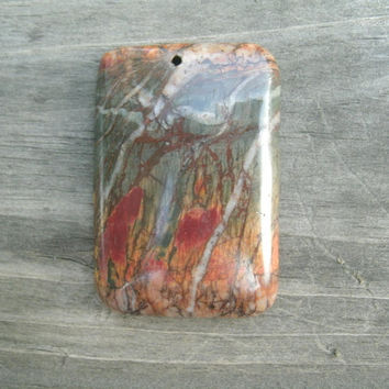 Colorful Picasso Jasper Pendant Bead, multi colored Picasso Jasper, rectangular pendant stone, polished and drilled for DIY jewelry supply