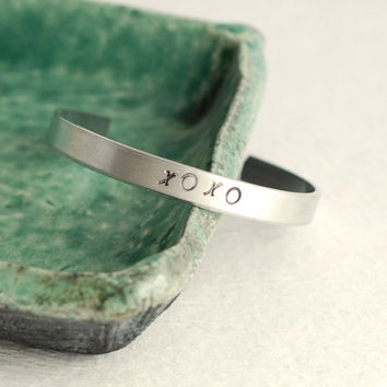 Hugs and Kisses Inspiration Hand Stamped Cuff Bracelet, aluminum silver metal adjustable bangle stacking birthday graduation women gift
