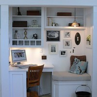 built-in closet desk with sitting nook