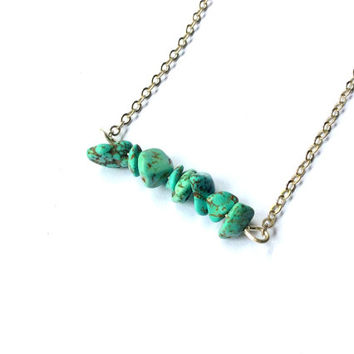 Turquenite necklace: Turquoise-like chip beads bar