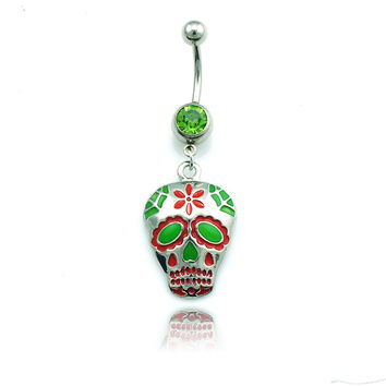 Fashion Belly Button Rings Stainless Steel Barbell Dangle Colorful Enamel Skull Navel Piercing Jewelry Free Shipping