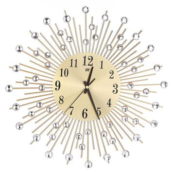 Wall Clock Diamonds Decorative Clock Living Room Decor Quiet Quartz Clocks