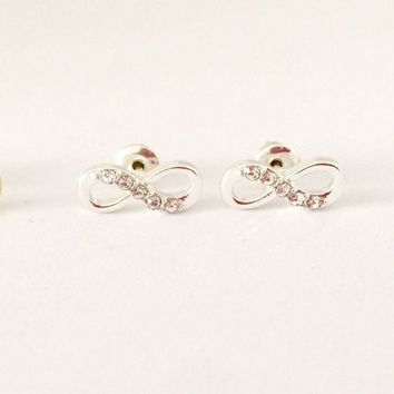 Tiny Love Forever Infinity crystal Silver Tone Crystal Stud Earrings