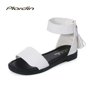 plardin 2017women shoes 2017 summer fringed style flat heel soft leather casual ladies fashion Ankle Strap beach sandals