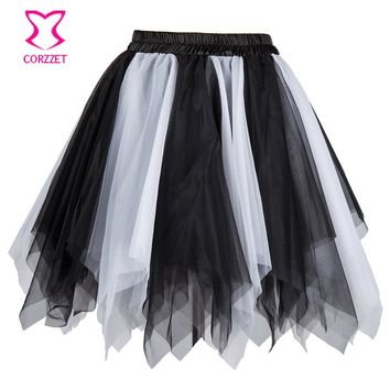 Black & White Multilayered Asymmetrical Tulle Sexy Gothic Corset Skirt Woment Tutu Petticoat Underskirt Short Mini Pettiskirt