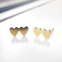 Heart Earring Studs,Double Hearts Earrings,Heart Jewelry,Gold Heart Earrings,Golden Brass Jewelry,Small Earrings,Hypoallergenic Earrings