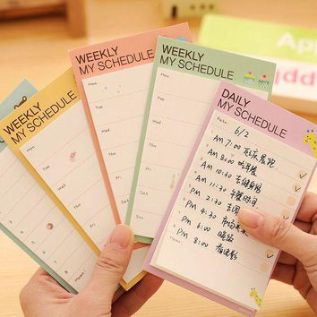 VONC1Y Desk Weekly Daily Memo Pad Planner Cartoon Sticky Notes Stickers Diary  Post It Paper Stationery To Do List Office Supplies