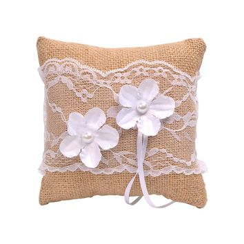 Burlap Wedding Ring Pillow Cushion Jute Lace Pearl Ring Bearer Pillow for Bridal 15x15cm