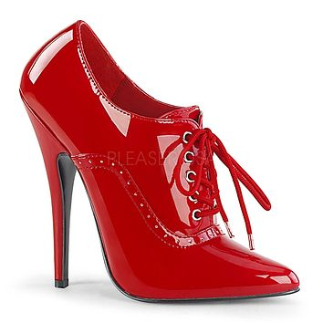 """Domina 460 Oxford Pointy Toe 6"""" High Heel Shoe Red Patent"""