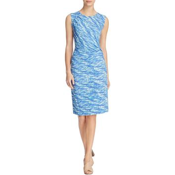 Nic + Zoe Womens Water Waves Printed Twist Wear to Work Dress