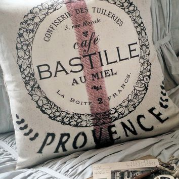 Pillow Cover Grain Sack Pillow Cafe Bastille French Cotton and Burlap Pillow
