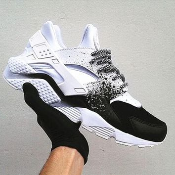NIKE Huarache Black White Contrast Splash-ink Casual Running Sport Shoes Sneakers G-AA-SDDSL-KHZHXMKH