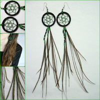Handmade Dreamcatcher Earrings - Long Peacock Dream Catcher Earrings - Jewelry