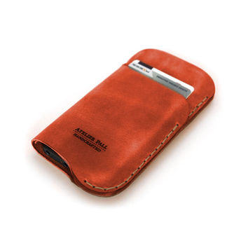 iPhone 5S iPhone 6 Wallet Sleeve by AtelierPALL Leather Cover in red leather with card holder
