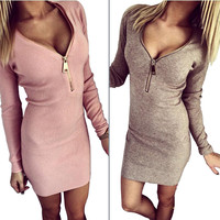 V Neck Zip Up Dress
