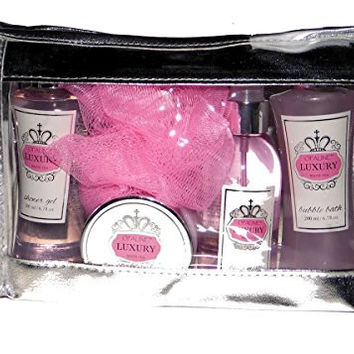 Travel Pack White Tea Premium Bath Spa Gift Set, Shower Gel, Body Lotion, Bubble Bath, Body Essence & Bath Puff in a Zippered PVC Bag