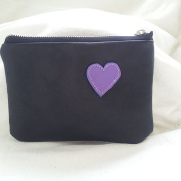 black leather pouch, recycled black leather pouch, black leather purse, leather purse, leather make up bag, leather coin purse, love heart