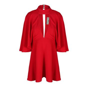 Fashion slim sexy solid color cloak sleeve V-neck   woman's Casual a-line dress