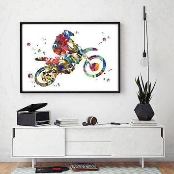 Dirt Bike Rider watercolor print sport art motocross poster dirt bike giclee print motocross rider dirt bike jump motorcycle art wall art
