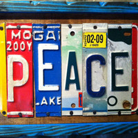 Trailer Tags  PEACE  Recycled License Plate Art by TrailerTags