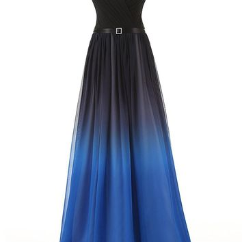 US Women's Gradient Color Chiffon Formal Evening Dress Long Prom Gown