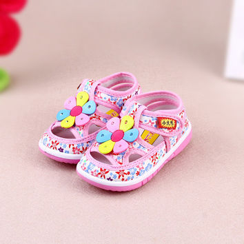 Child Baby Girls Sandals Toddler Summer Shoes Kid Cute Flower Sandals Infant Flat Princess Shoes  0-3 Years