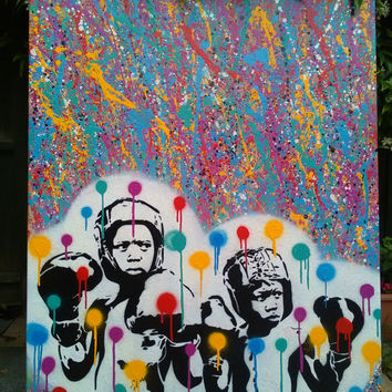 Boxer splash painting on canvas,stencil art,spray paint art,pop,Pollock,street art,fine art,abstract art,Olympics, sport,urban,handmade, art