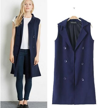 Stylish Sleeveless Double Breasted Women's Fashion Jacket [4919018116]
