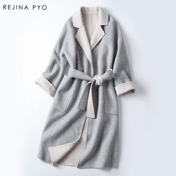 Rejina Pyo Women Handmade 100%Wool with Alpaca Double-sided Wool Coat Female High Quality Warm Autumn Winter Clothing