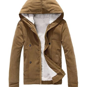 Hooded Fleece Lined Men Coat