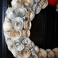 Vintage Book Page Wreath with Rosettes by lilywhitesparty on Etsy