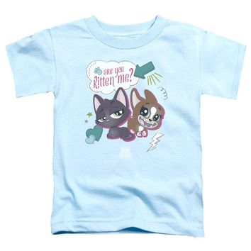 Littlest Pet Shop Toddler T-Shirt Are You Kitten Me Light Blue Tee