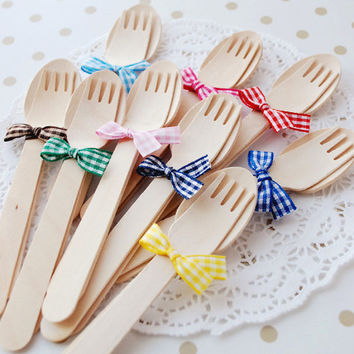 Wooden spoon/fork ribbon set