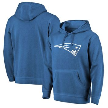 Men's New England Patriots NFL Pro Line by Fanatics Branded Navy White Logo Shadow Washed Pullover Hoodie