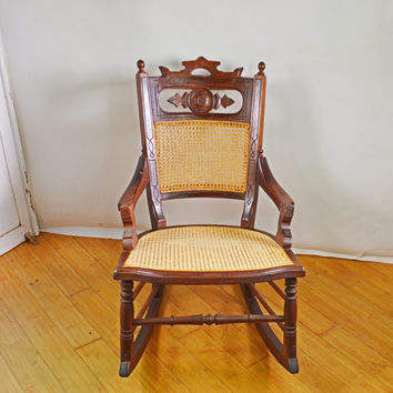 Antique Rocking Chair, Wood Rocking Chair, Cane Chair, Victorian Rocking Chair, Antique Rocker, Antique Furniture, Antique Wicker Chair