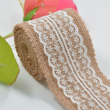 Natural Jute Burlap Hessian Ribbon with White Lace Trim Edge
