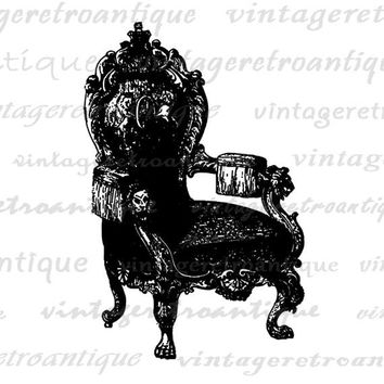 Digital Printable Antique Chair Graphic Illustration Image Download Vintage Clip Art Jpg Png Eps HQ 300dpi