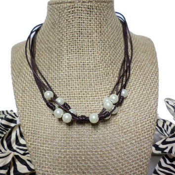 Boho Multi-strand Brown Knotted CordWhite Pearl knotted choker necklace, knot pearl bead, white pearl, knotted, brown cord, gift, Chic