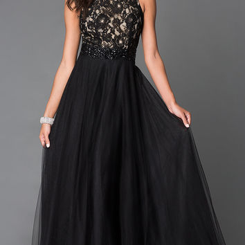 Long Black Chiffon High Neck Sean Prom Dress SN-50824