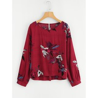 Forever Yours Floral Blouse - Burgundy