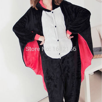 Flannel Anime Bat Pajamas Sleepwear Cosplay Costume Adult Animal Onesuit Pyjamas Party