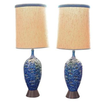 Pre-owned Large Mid-Century Blue Drip Glaze Lamps - A Pair