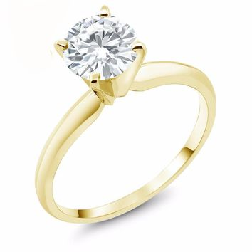Forever One GHI 1ct Round Moissanite 14K Yellow Gold Engagement Solitaire Ring