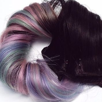 Pastel #1B Dip Dye Ombre Clip in Human Hair Extensions Pink Purple Mint Green