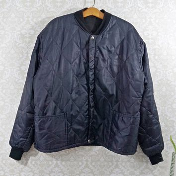 Vintage 1970s Quilted + Workwear Bomber Jacket